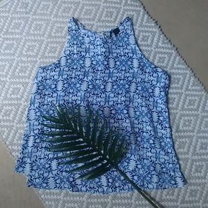🌞 New Directions Sleeveless Blue Flowy Top Size L